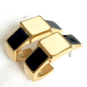 MONET Gold Black White Hoop Earrings